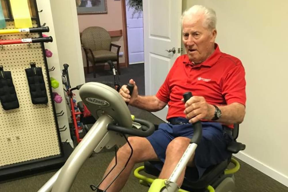 A resident exercising at Landings of Huber Heights in Huber Heights, Ohio