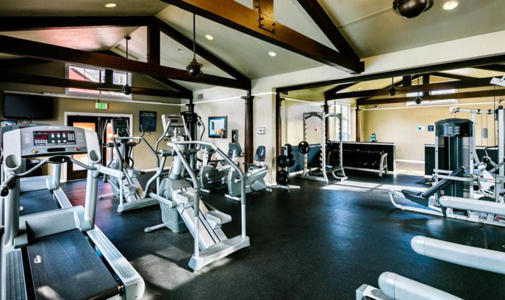 Well Equipped Fitness Center at The Woodlands Apartments
