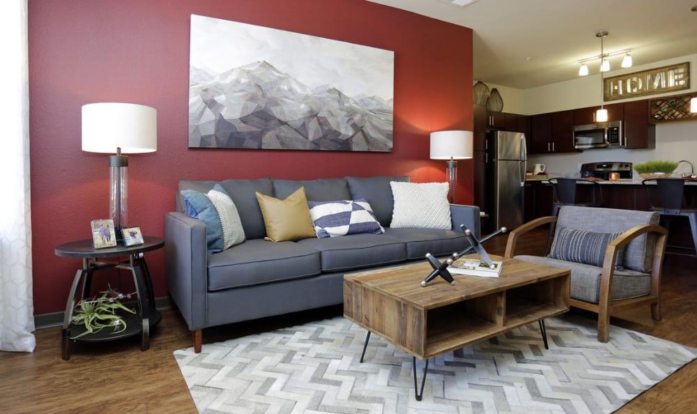 Spacious living room at Springs at Eagle Bend in Aurora, Colorado