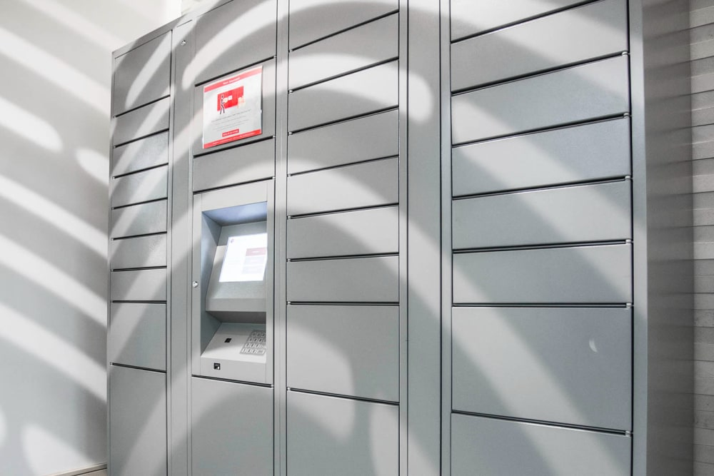 Automated package locker at Marq Midtown 205 in Charlotte, North Carolina