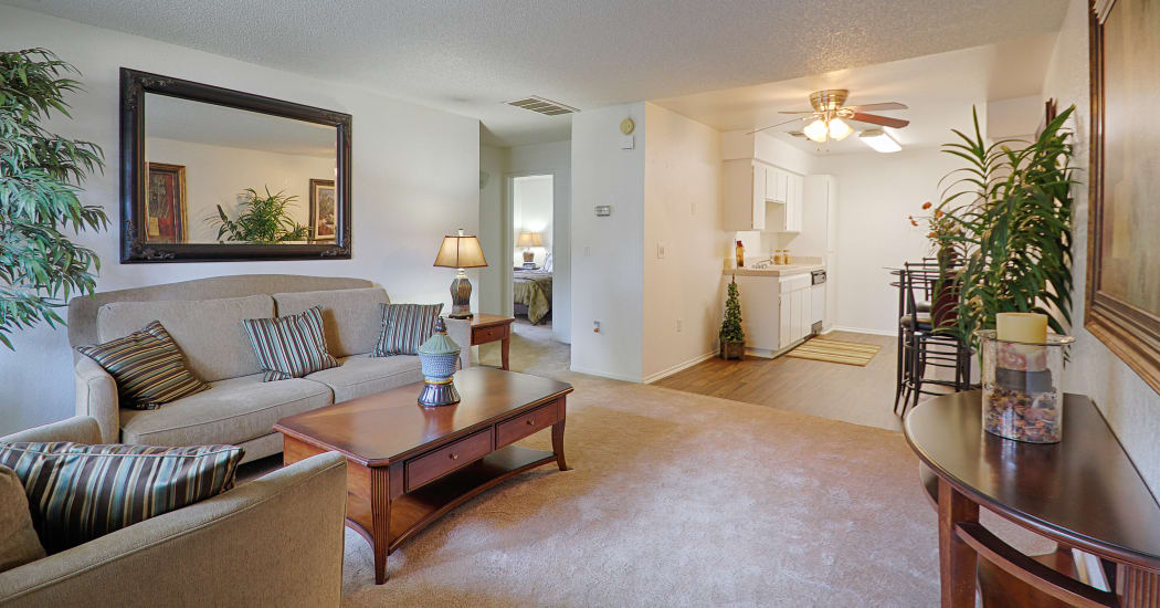 Large and well-decorated living room at Country Hills Apartment Homes
