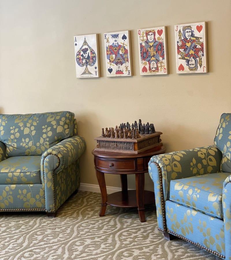 Game area at Pacifica Senior Living Menifee in Sun City, California