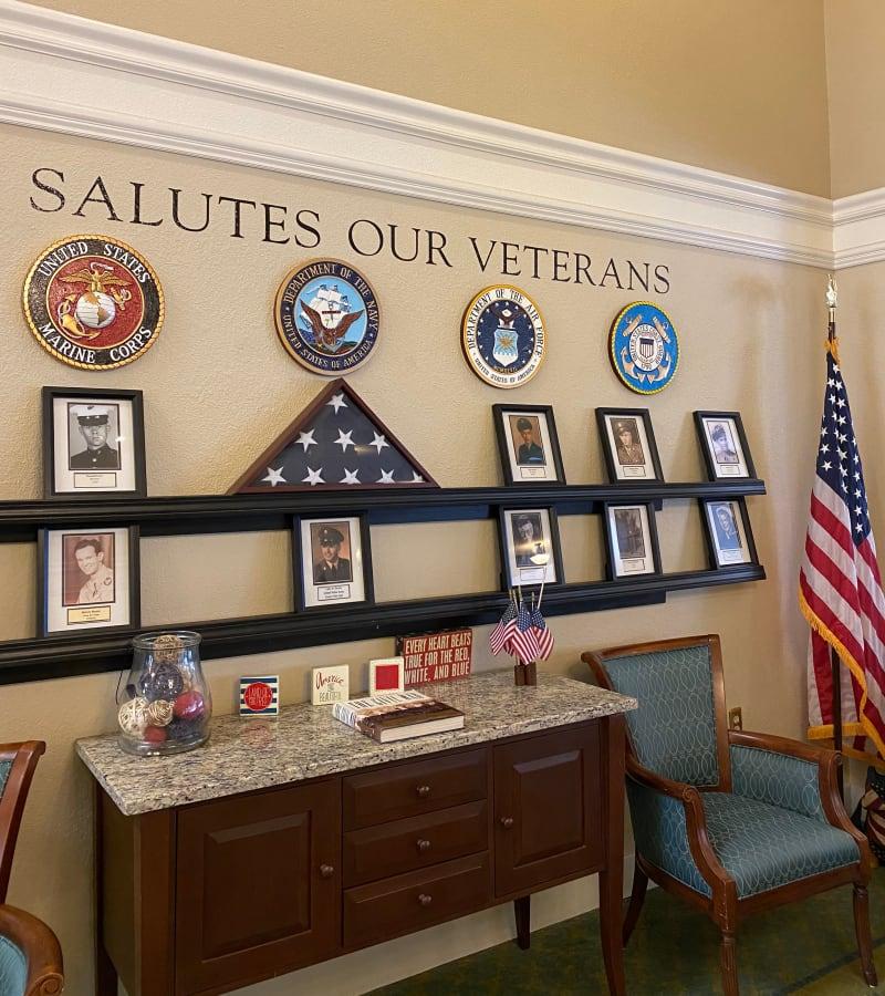 Salute to Veteran's wall at Pacifica Senior Living Fresno in Fresno, California