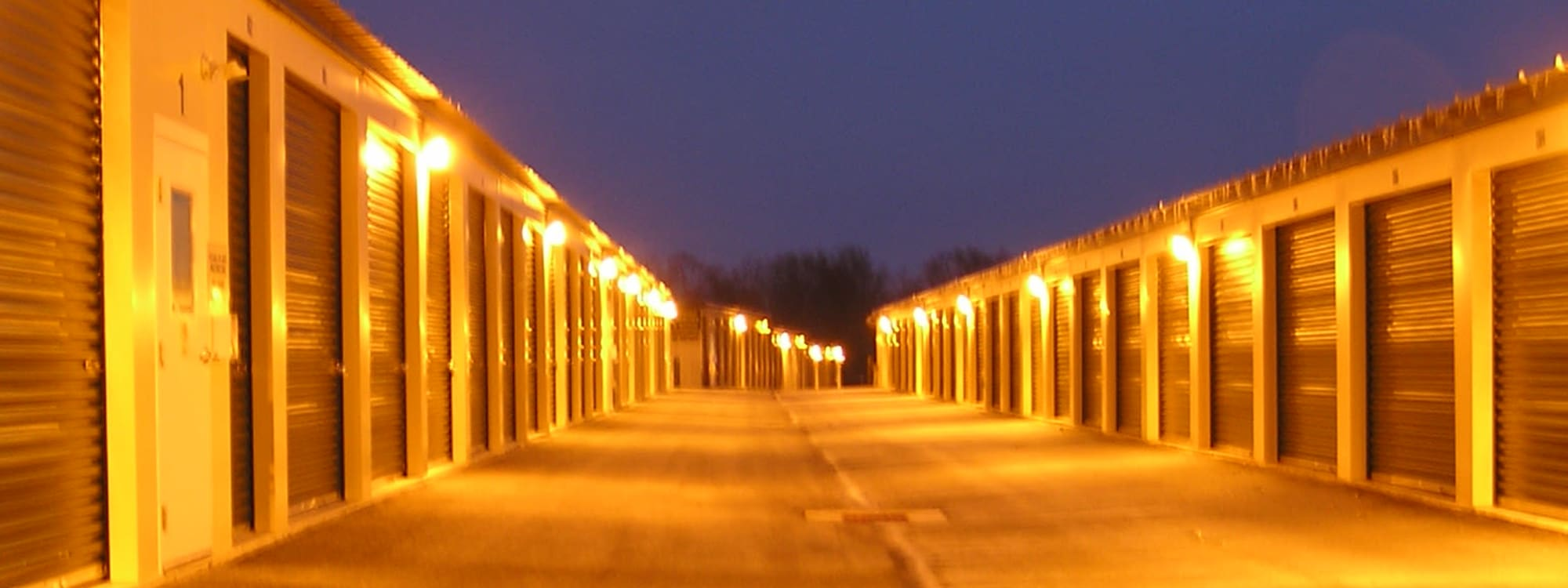 Night time image of storage units at Coventry Self Storage in Coventry, Connecticut
