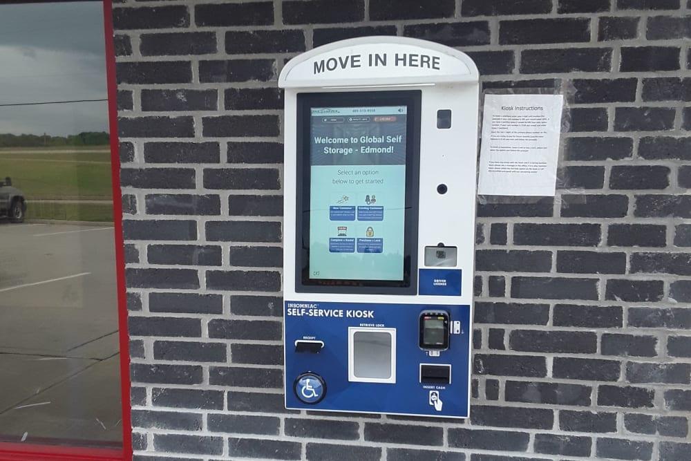 Pay kiosk at Global Self Storage in Edmond, Oklahoma