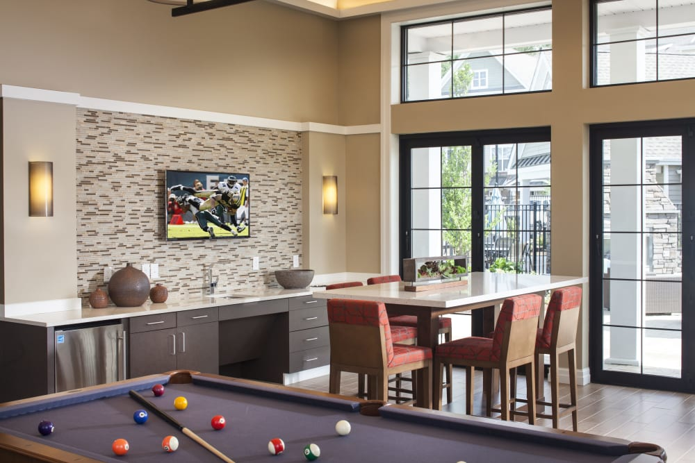Clubhouse pool table room at apartments in Canton, Massachusetts