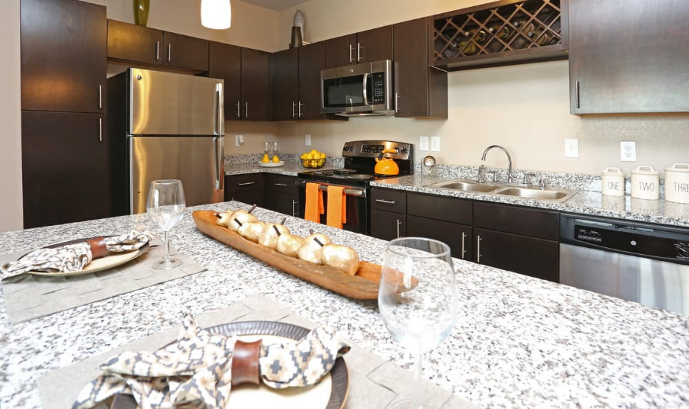 modern kitchen at Springs at Hurstbourne in Louisville, KY