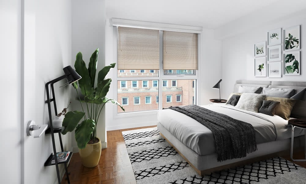 Enjoy our modern apartments bedroom at Residences on Bloor