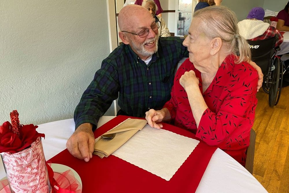 A happy couple on Valentine's Day at Parkrose Gardens of Fairfield in Fairfield, California