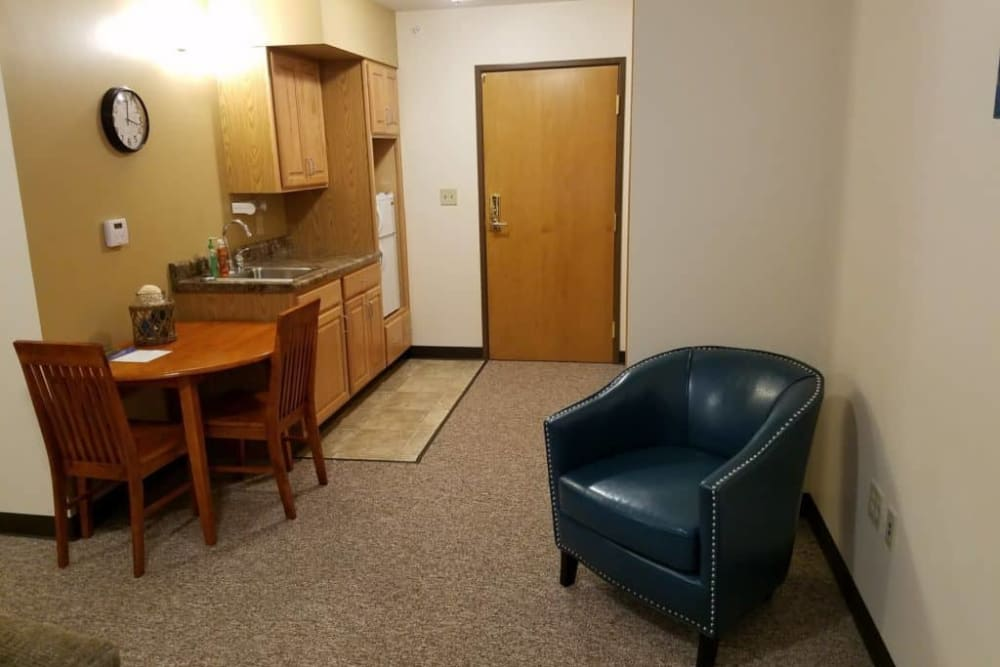 Respite care apartment with kitchenette at Manning Senior Living in Manning, Iowa.
