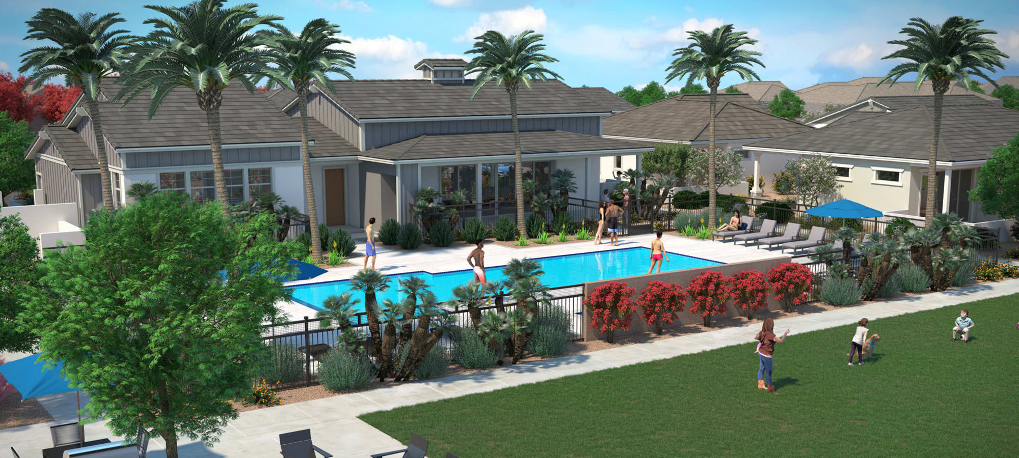 Rendering of our community play area near the swimming pool at Peralta Vista in Mesa, Arizona