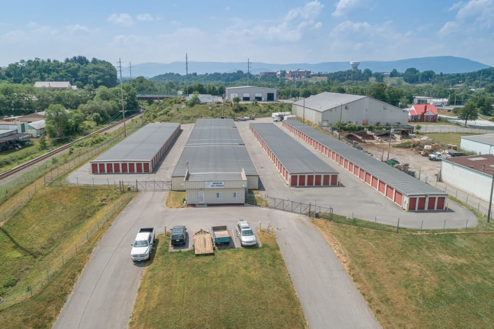 Aerial view of the facilities at Apperson Self Storage 2 in Roanoke, Virginia