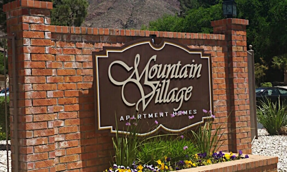 The sign in front of Mountain Village in El Paso, Texas