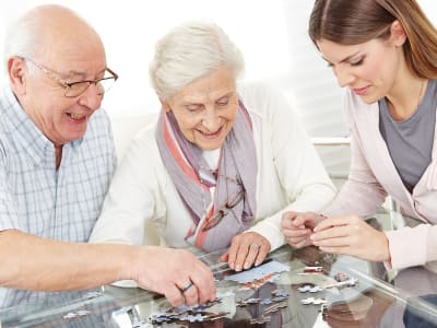 Group puzzle at our senior living facility in Louisville, Kentucky