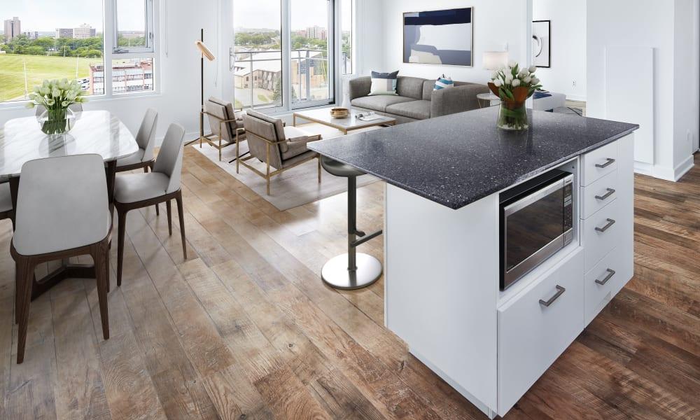 Modern kitchen and dining room at 19Twenty Apartments in Halifax, Nova Scotia