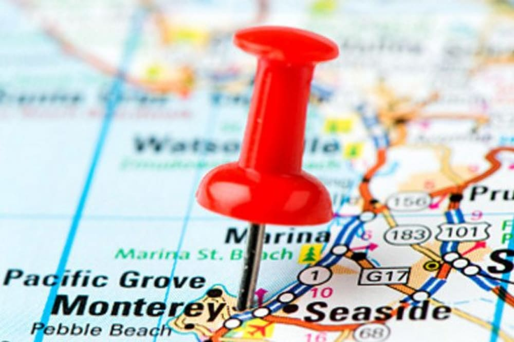 A map where Merrill Gardens at Monterey is in Monterey, California.