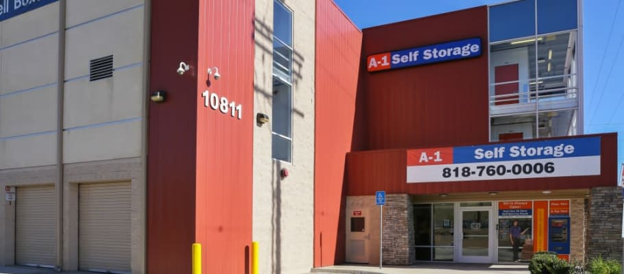 Front sign on our building at A-1 Self Storage in North Hollywood, California