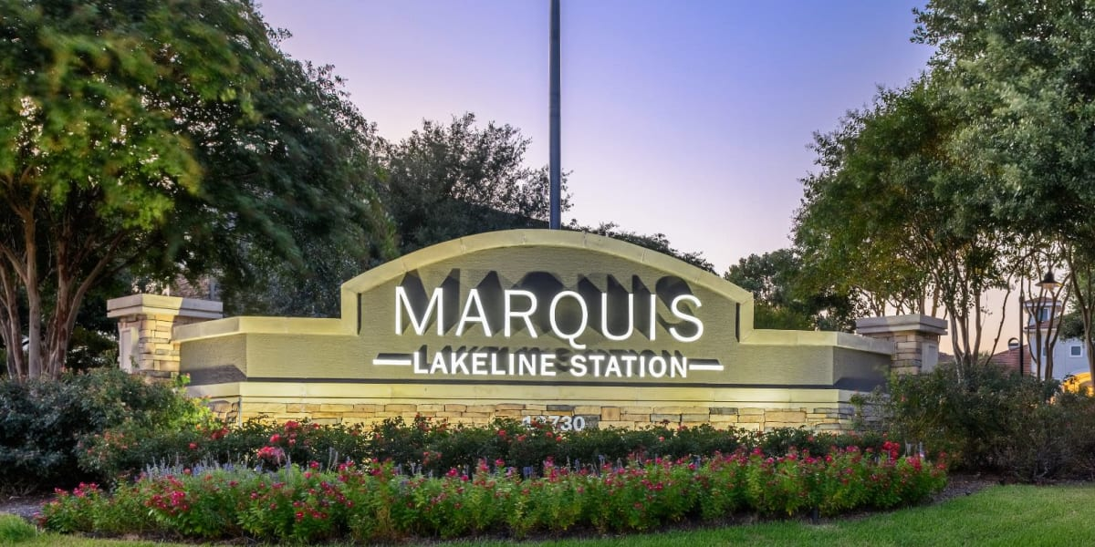 Lit Marquis Lakeline Station sign at Marquis Lakeline Station in Austin, Texas