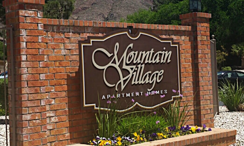 The signage for Mountain Village in El Paso, Texas