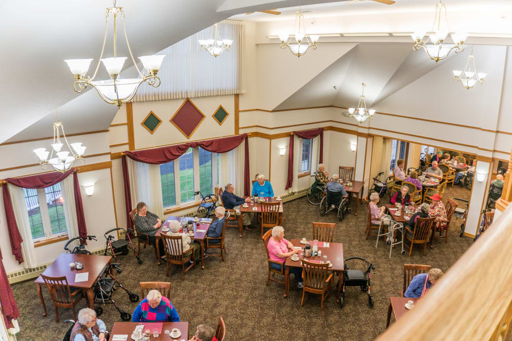 View of resident lounge from the balcony at Meadow Lakes Senior Living in Rochester, Minnesota.