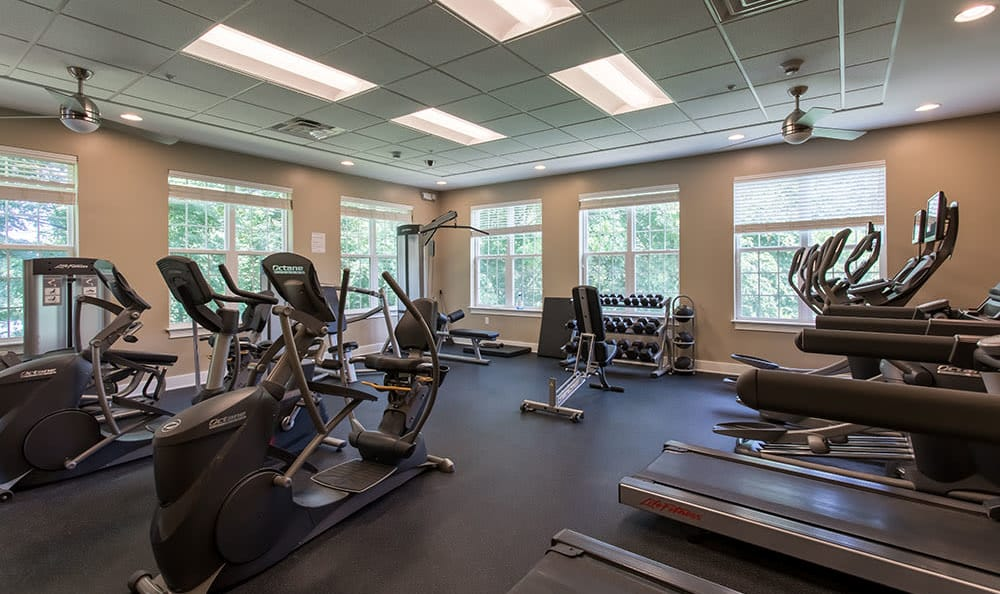 Fitness center at Waters Edge Apartments in Webster, NY