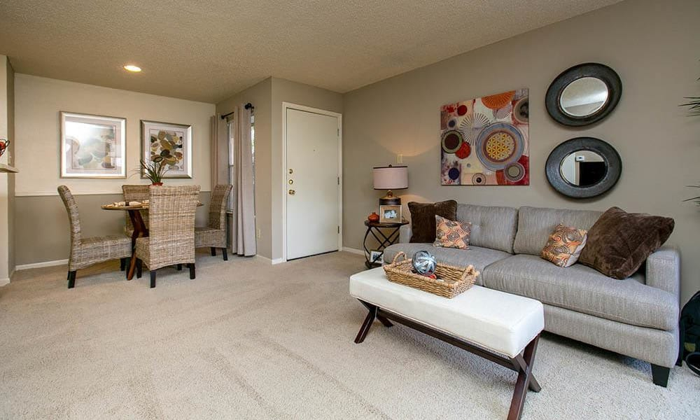 Living room and dining room at Walnut Ridge Apartments in Corpus Christi, Texas