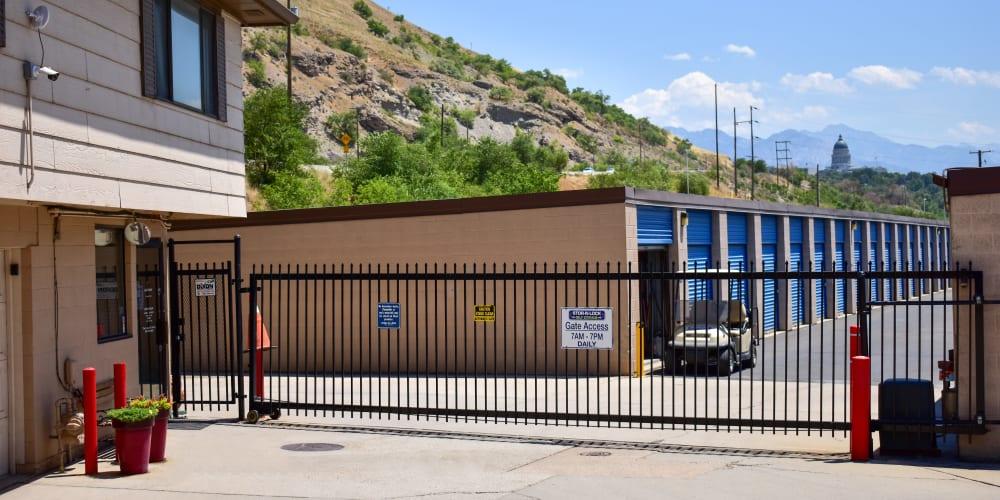 The front gate at STOR-N-LOCK Self Storage in Salt Lake City, Utah