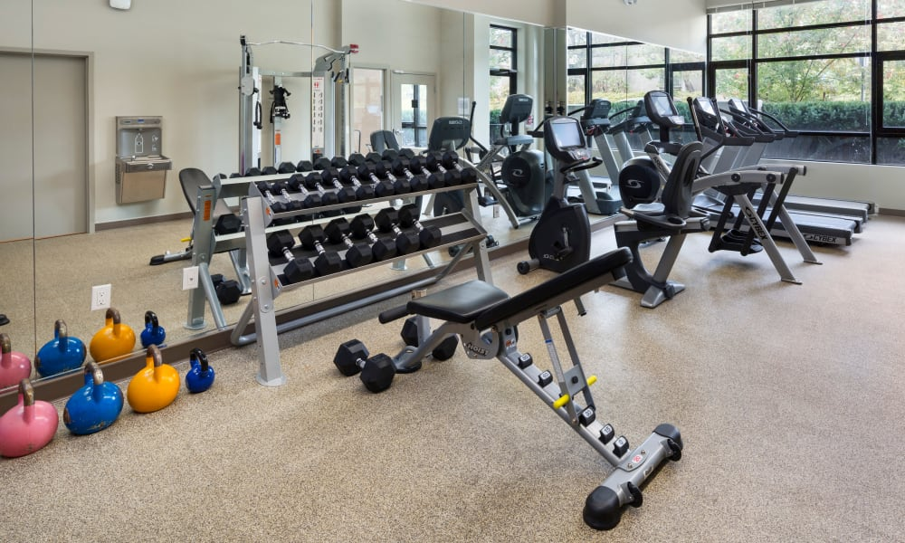 State-of-the-art gym at Northwoods Village in North Vancouver, British Columbia