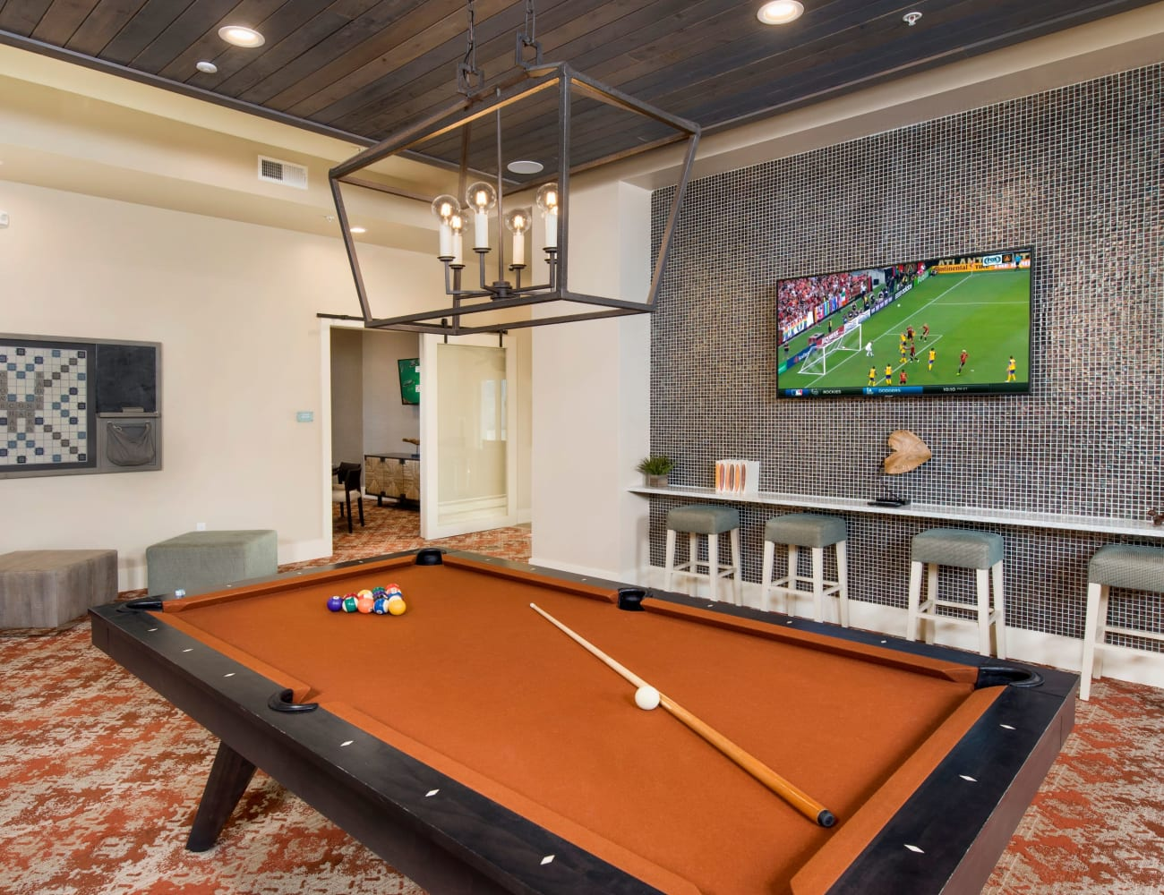 Resident clubhouse with billiards table and more at The Elysian in St Johns, Florida