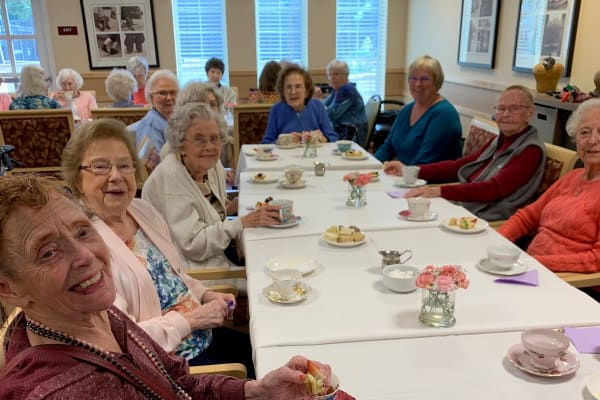 Residents enjoying tea at Merrill Gardens at Willow Glen in San Jose, California.