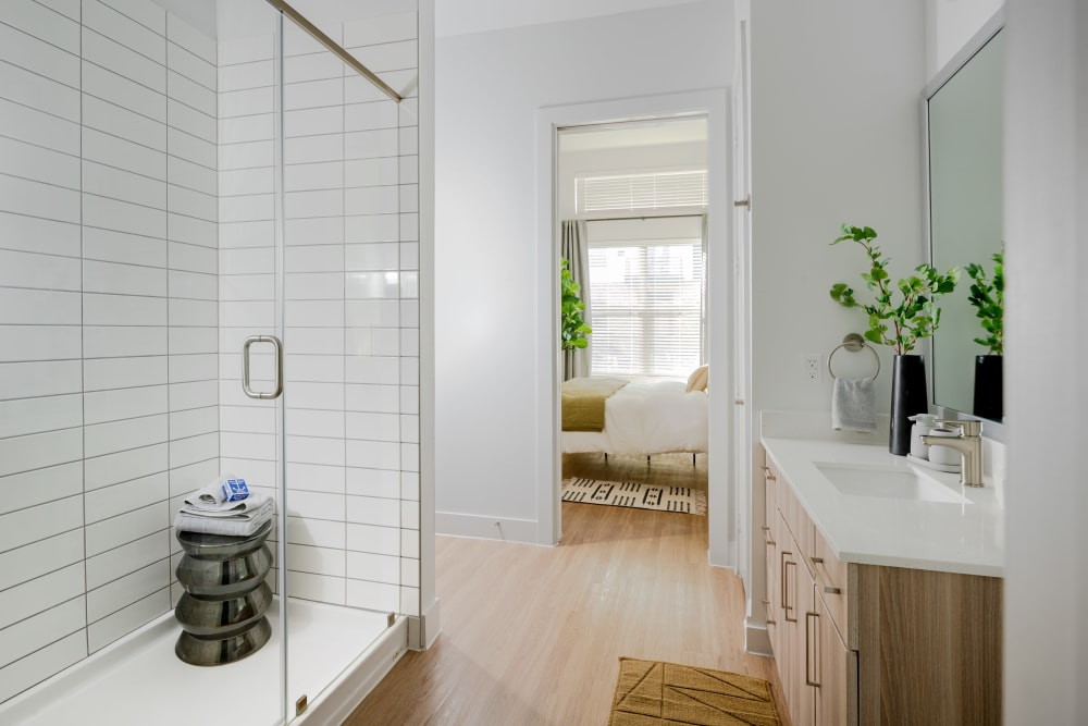 clean and minimalist bathroom with shower at  in San Antonio,TX