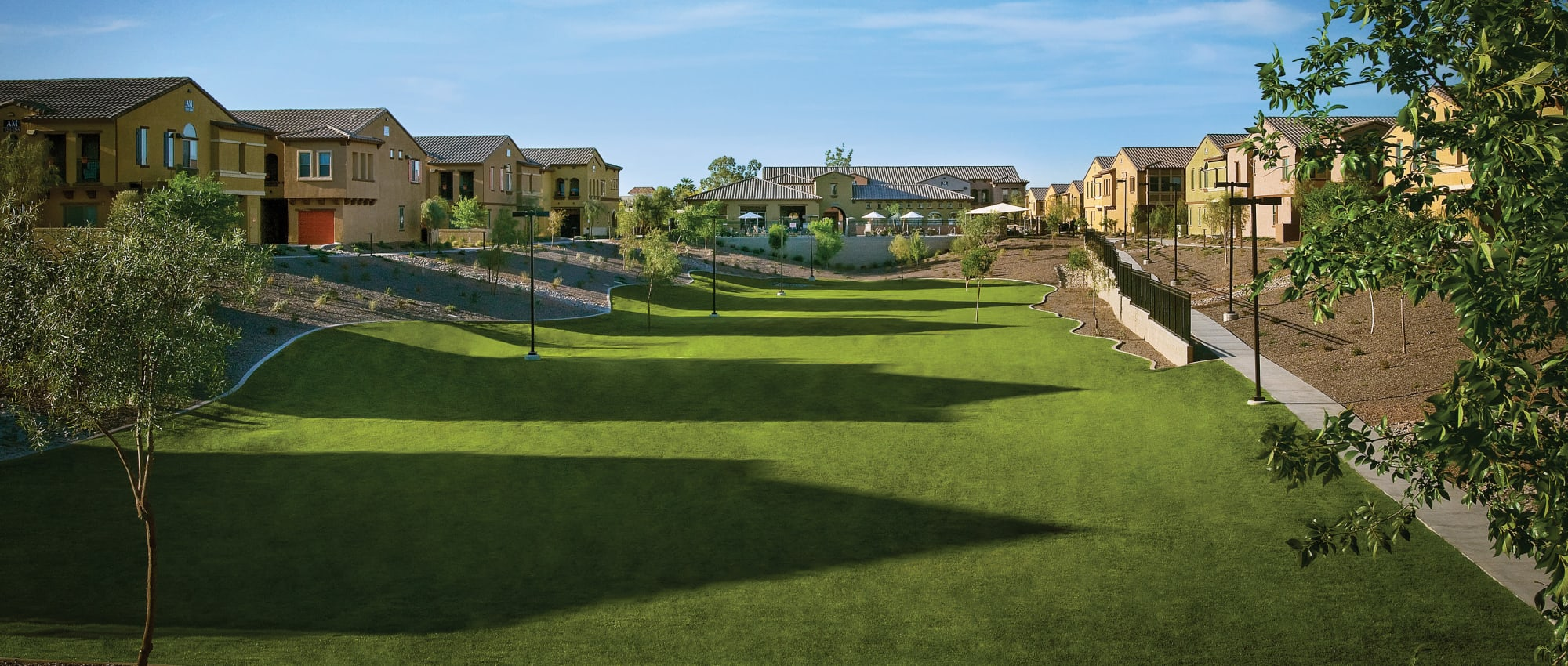 Spacious and beautifully maintained lawn at one of Mark-Taylor's Tempe Pet Friendly Communities in Tempe, Arizona