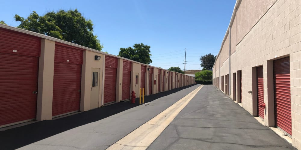 Outdoor storage units at StorQuest Self Storage in Temecula, California