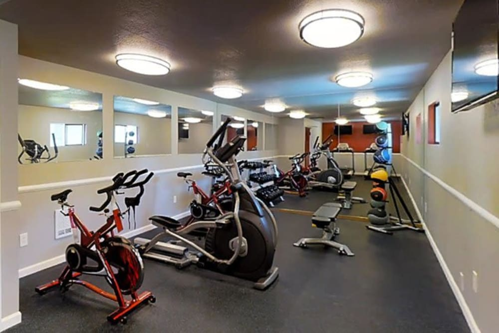 Fitness room at Terra Apartment Homes in Federal Way, Washington