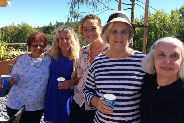 Residents wine tasting near Merrill Gardens at Lafayette in Lafayette, California.