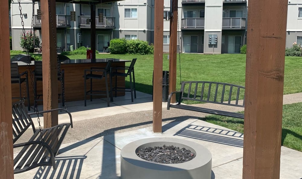Fire-pit Swing Lounge at Bridge Creek Apartments in Vancouver, Washington