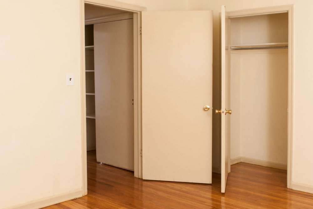 Bedroom with closet space at Villager Apartments in Irvington, New Jersey