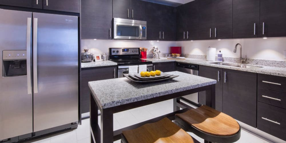 Modern gourmet kitchen with granite countertops in a model home at Doral View Apartments in Miami, Florida