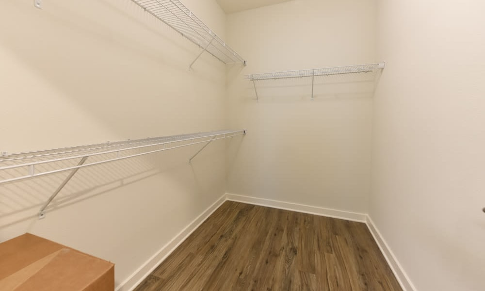 Large closet with ample shelving at Fusion apartments in Jacksonville, Florida