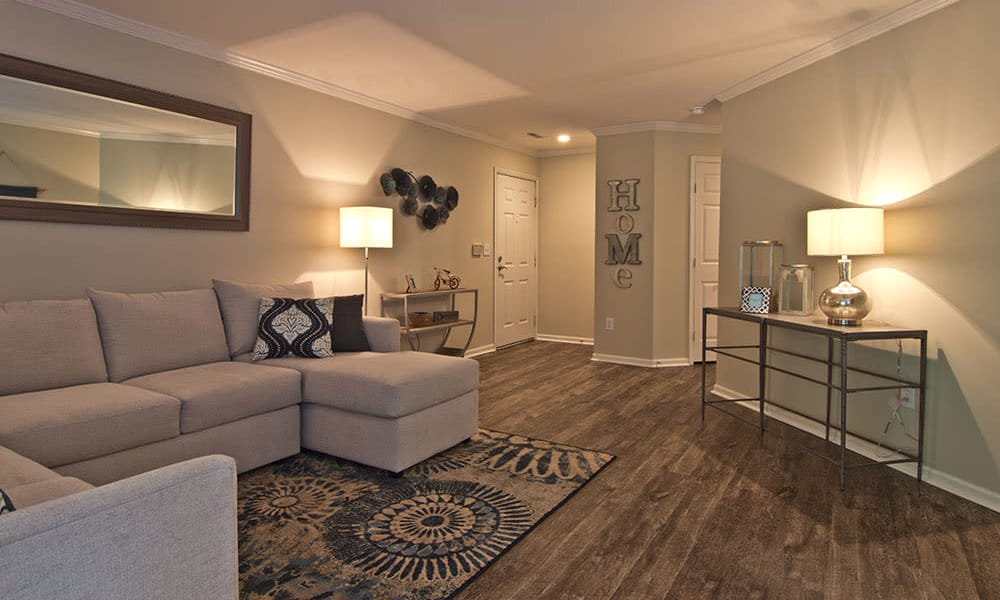 Model Living Room at The Woods at Polaris Parkway in Westerville