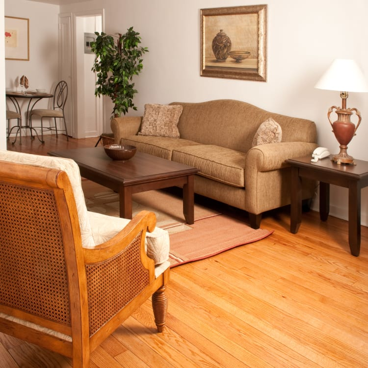 Well decorated living room at Warner Village Apartments in Trenton, New Jersey