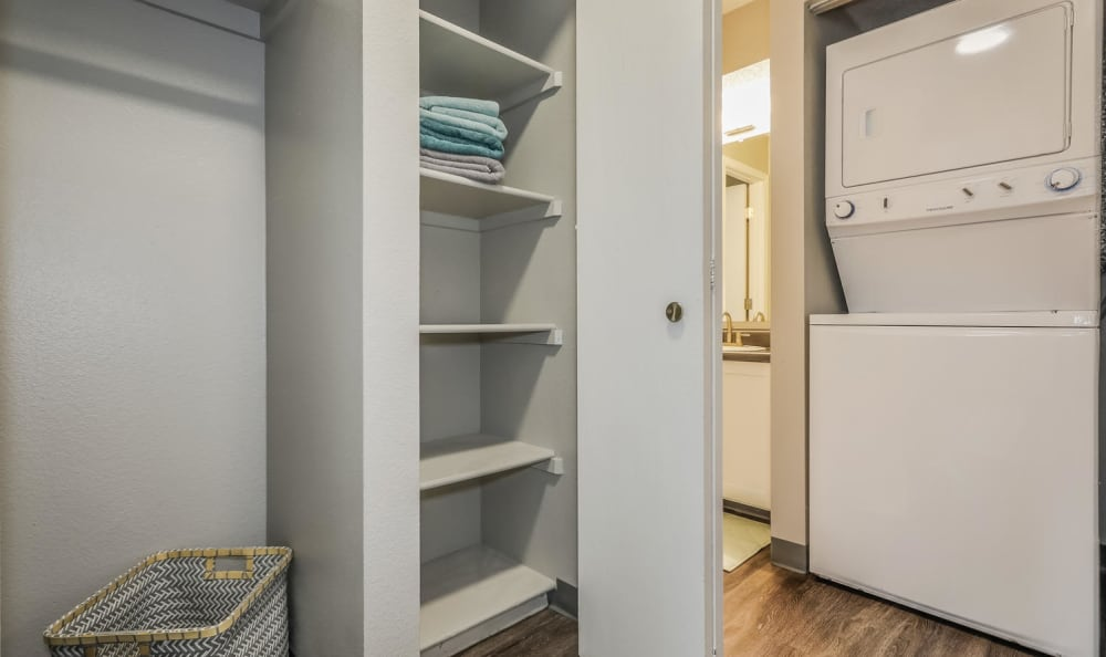 Washer and dryer combo in units at City Center Station Apartments