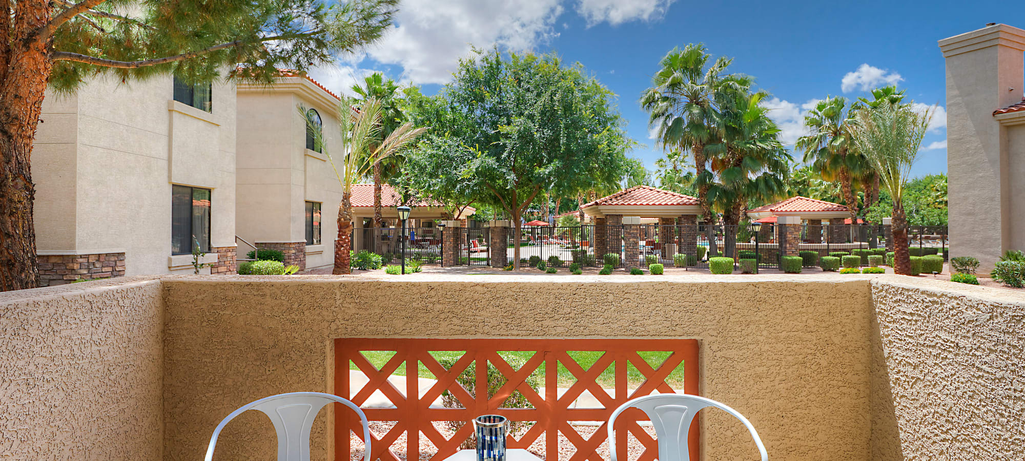 Private balcony outside apartment home at San Palacio in Chandler, Arizona