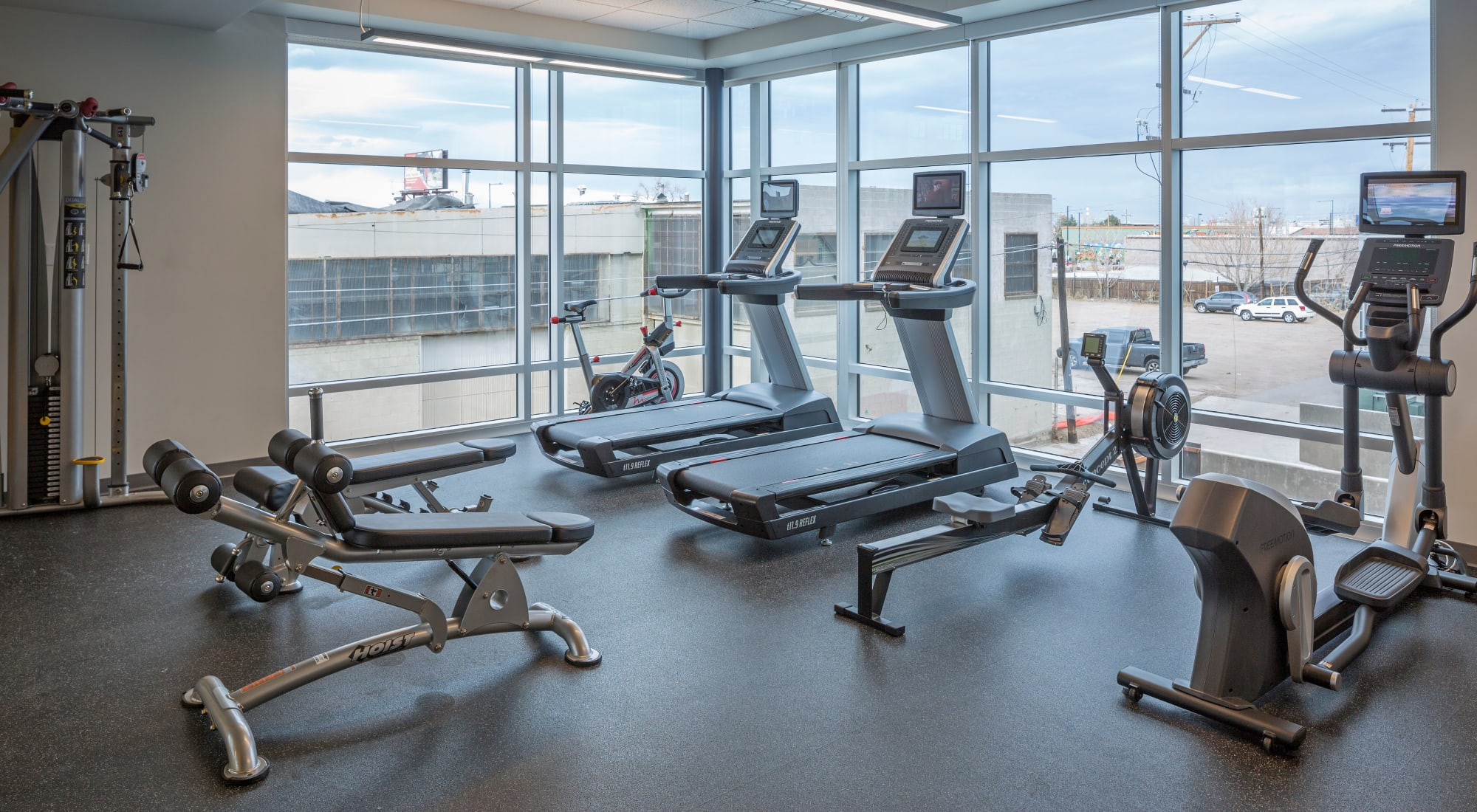 Modern fitness center at Denver, Colorado, apartments at RiDE at RiNo