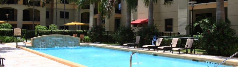 Resort-style swimming pool at The Heritage at Boca Raton in Boca Raton, Florida