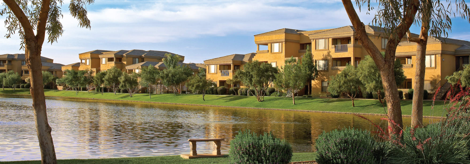 Lakeside view of apartments at Waterside at Ocotillo in Chandler, Arizona