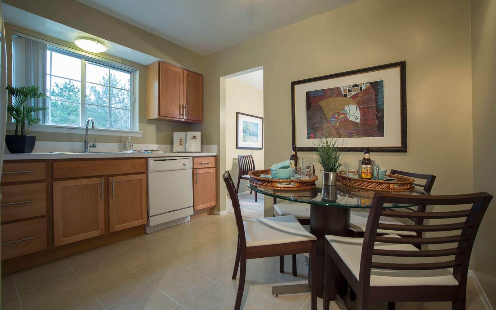 Model kitchen and dining room at Aldingbrooke in West Bloomfield, Michigan