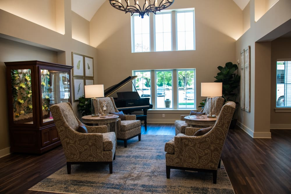 Inviting entrance lobby with comfortable seating at Westminster Memory Care in Lexington, South Carolina