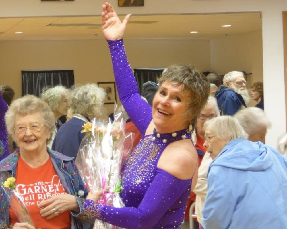 Resident Elayne and her dance instructor after a performance at Garnett Place in Cedar Rapids, Iowa.