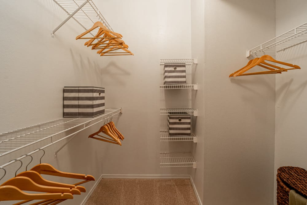 Walk in closet with closet organizer at Marquis at Bellaire Ranch in Fort Worth, Texas